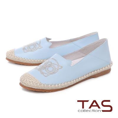 TAS 貓頭鷹燙鑽麻繩踩腳樂福鞋-淺藍