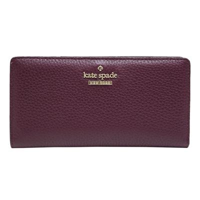 Kate spade stacy 雙折扣式荔枝紋牛皮長夾-紫紅色