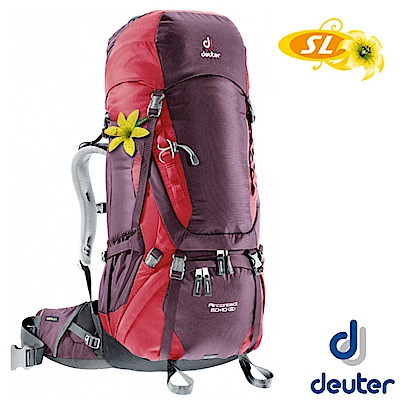 【Deuter】女 AIRCONTACT 60+10SL 登山健行透氣背包_紫/紅