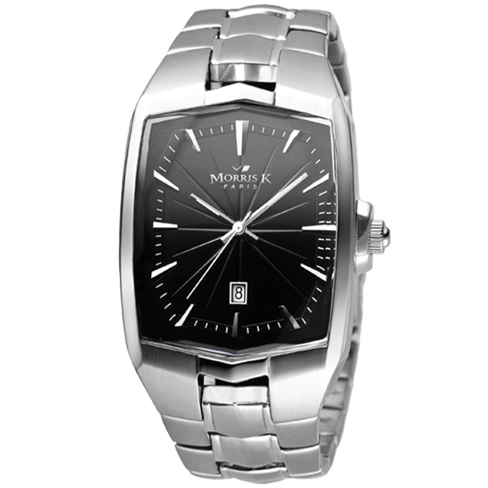 MORRIS K 八方魔力不鏽鋼時尚腕錶-黑/34mm