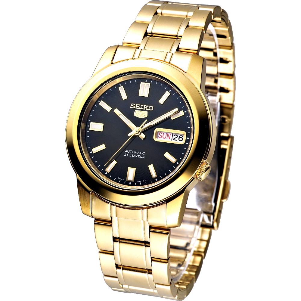 SEIKO 時尚新爵IP金5號自動機械腕錶(SNKK22K1)-黑x鍍金/38mm