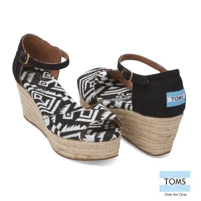 TOMS 幾何圖謄魚口楔型鞋-女款(黑)