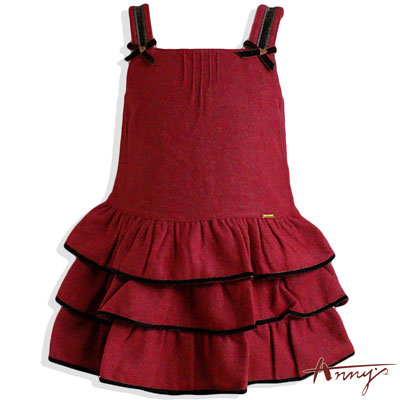 Annys可愛雙蝴蝶結蛋糕裙擺背心洋裝*3285紅