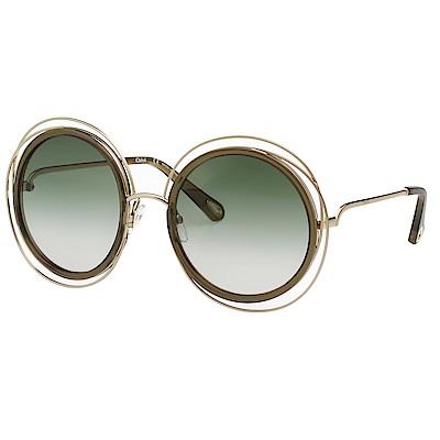 CHLOE金屬大框 太陽眼鏡(金配灰)CE120SD
