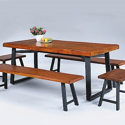 H&D 淺胡桃4.5尺長方桌 (寬135X深90X高76cm)