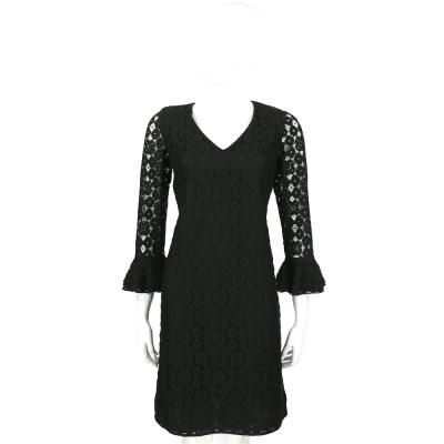 MOSCHINO 黑色簍空織花七分袖洋裝
