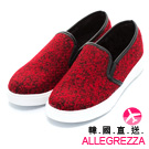 ALLEGREZZA-韓國直送-正韓國製造混色毛呢厚底鞋  紅色