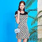 YIDIE衣蝶-韓系彩繪圓點拼接短洋裝