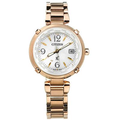 CITIZEN XC 光動能電波世界時間萬年曆鈦金屬手錶 -銀x鍍香檳金/30mm