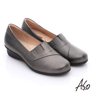 A.S.O 活力勁步 珠光牛皮奈米氣墊鞋 灰