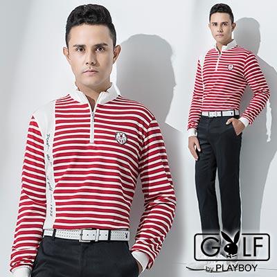 PLAYBOY-GOLF-立領拼接橫紋休閒POLO衫-紅白-AA12225-18