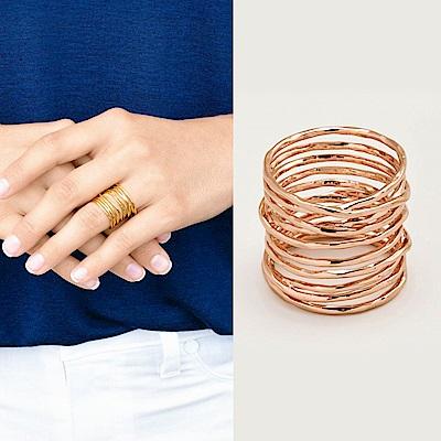 GORJANA 玫瑰金編織多環戒 亮面波浪紋 優雅寬版 Lola Ring