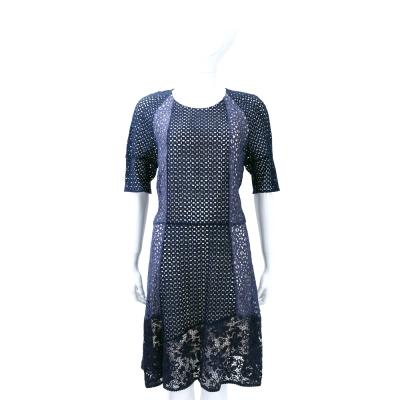 SEE BY CHLOE 深藍色洞洞拼接蕾絲短袖洋裝