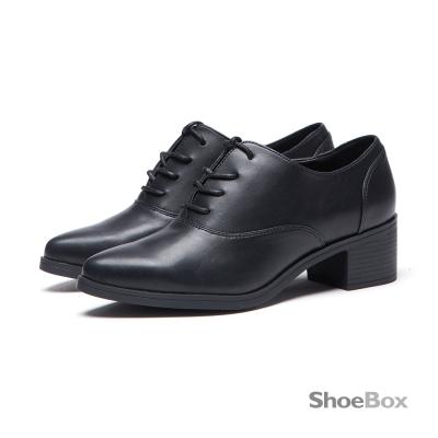 鞋櫃ShoeBox 牛津鞋-基本款綁帶粗跟尖頭鞋1016404427-黑色