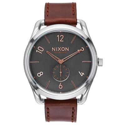 NIXON C45 LEATHER 跟隨自我潮流中性錶-銀框灰x咖啡x大/45mm