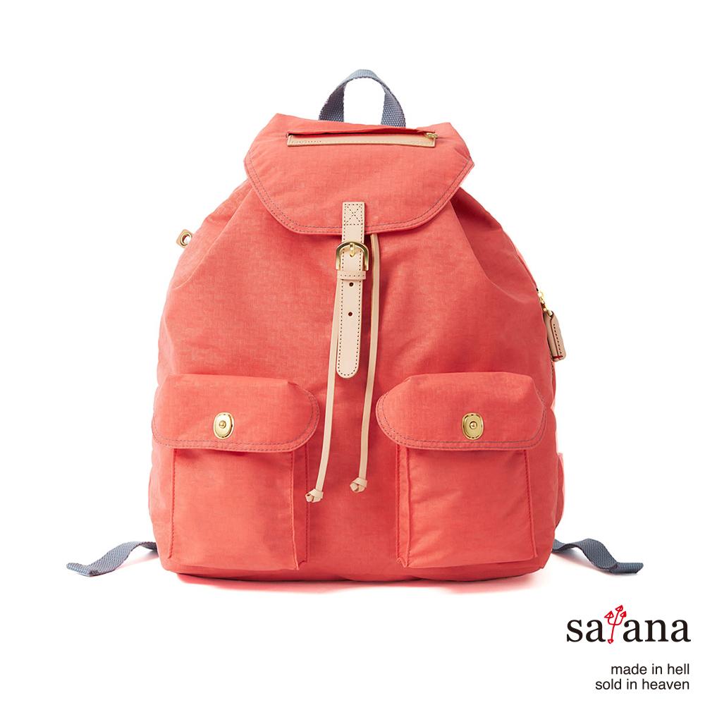satana - 休閒束口後背包 - 珊瑚紅