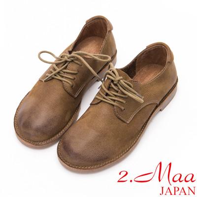 2.Maa - 刷舊復古感打蠟羊皮綁帶休閒牛津鞋-軍綠