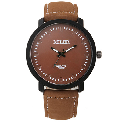 Watch-123 暖暖時光-大三針簡約雅致設計師腕錶-褐帶x褐盤/45mm