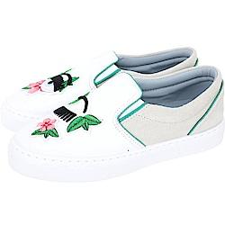 Chiara Ferragni Flower 刺繡花草補丁白色眨眼拼接厚底鞋