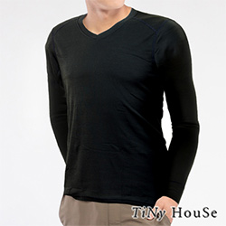 TiNyHouse保暖衣 輕薄保暖款台灣研發保暖纖維 男V領黑色