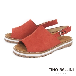 Tino Bellini 摩登復古寬帶魚口平底涼鞋 _橘