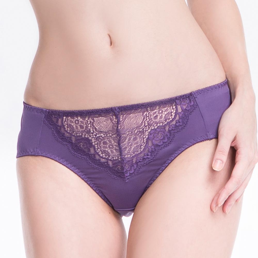 思薇爾 春露系列蕾絲中腰三角褲(墨水紫)