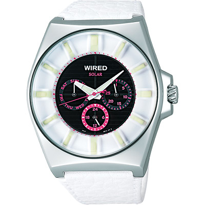 WIRED Solar 復刻太陽能腕錶(AUB035X)-粉紅小表圈/42mm