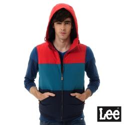 Lee 羽絨無袖外套 連帽 -男款-配色
