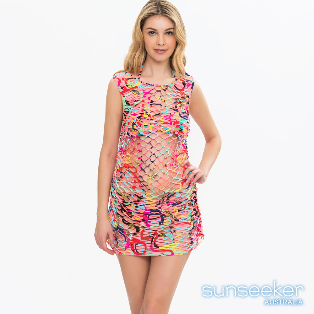 澳洲Sunseeker泳裝時尚幾何網洞罩衫洋裝