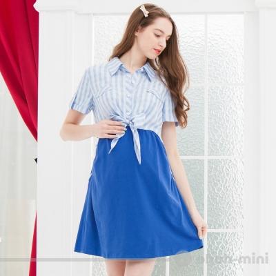 【ohoh-mini 孕婦裝】活潑俏麗蝴蝶結綁帶襯衫式洋裝