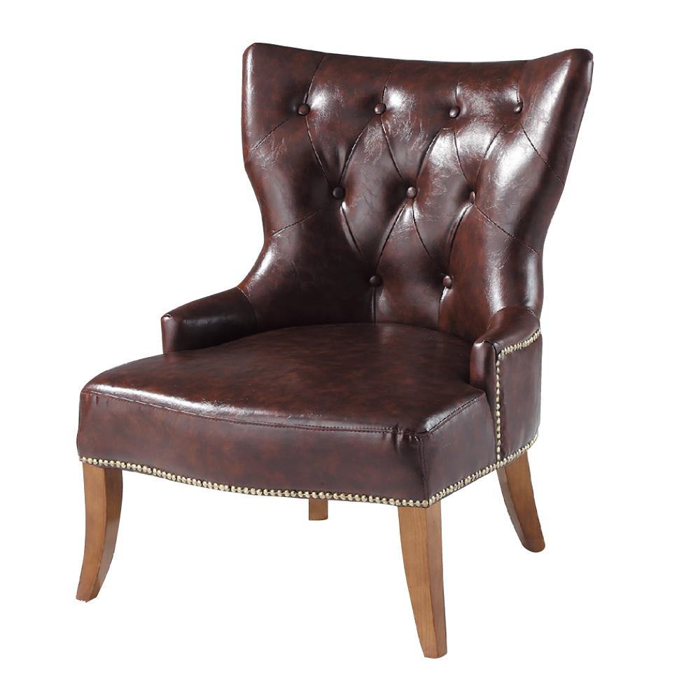 品家居 喜朵咖啡皮革單人沙發椅-70x61x88cm-免組