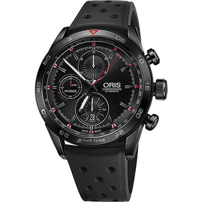 Oris豪利時 Audi Sport III 鈦限量賽車聯名計時腕錶-黑/44mm