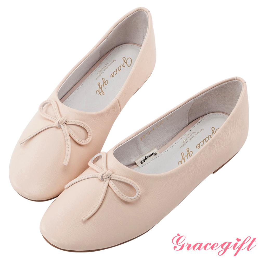 Grace gift-全真皮蝴蝶結平底娃娃鞋 米白