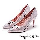Pineapple Outfitter 璀璨光芒  水鑽鏤空尖頭高跟鞋-粉色
