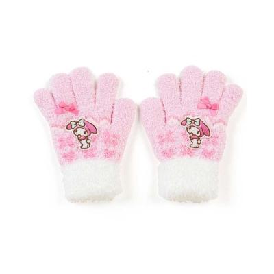 Sanrio-美樂蒂女童用可愛針織保暖手套-波紋小