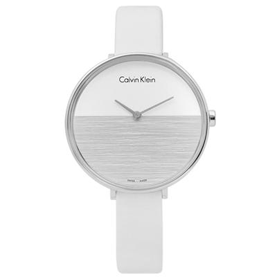 CK RISE 迷人晨曦海平面木紋質感皮革女錶-銀白色/37mm