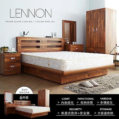 藍儂田園鄉村風系列雙人房間掀床組6件式-床頭+掀床+二抽櫃+鏡台+衣櫃+床墊