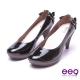 【ee9】典雅簡約素面閃耀鑲嵌亮鑽蝴蝶結高跟鞋*黑漆亮 product thumbnail 1