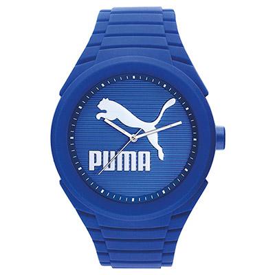 PUMA 超越極限 PU錶帶 運動電子腕錶-藍/45mm