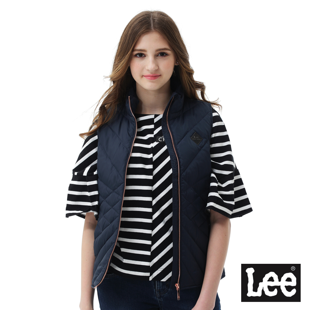 Lee羽絨背心90/10-女款-藍黑色