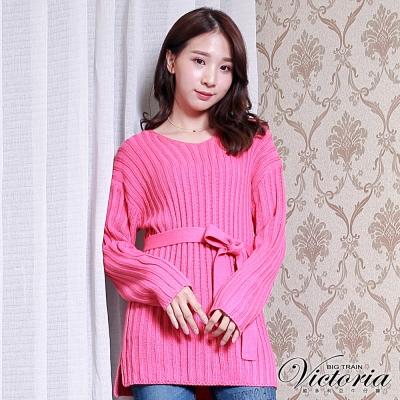 Victoria V領羅紋長版長袖線衫-女-桃紅