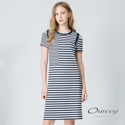 OUWEY歐薇 休閒簡約條紋挖洞洋裝(藍)