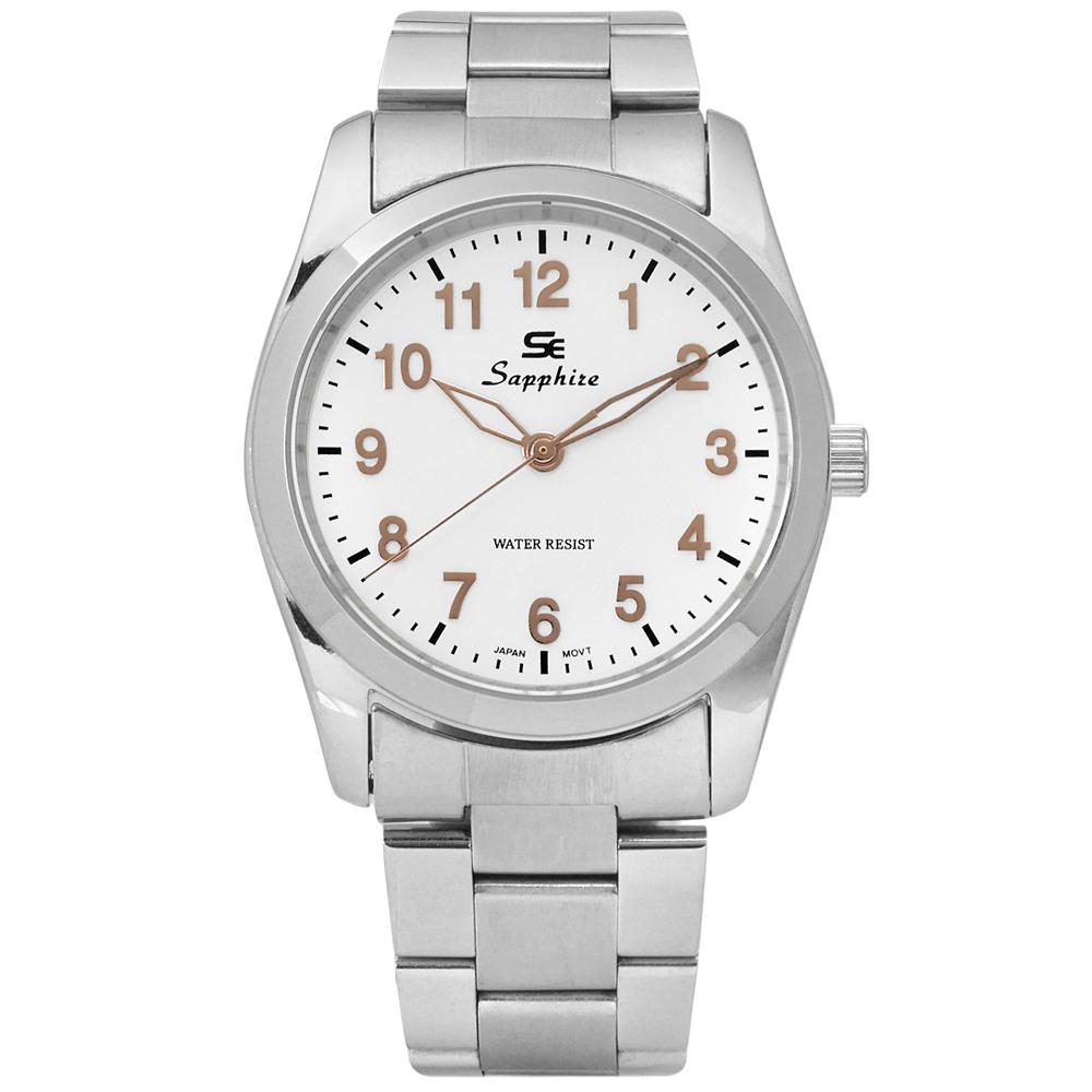 Sapphire 簡潔大方夜光藍寶石水晶不鏽鋼手錶-白/35mm