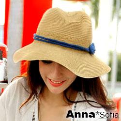 【滿額再75折】AnnaSofia 8字繩結帶 寬簷防曬遮陽紳士帽爵士帽草帽(駝系)
