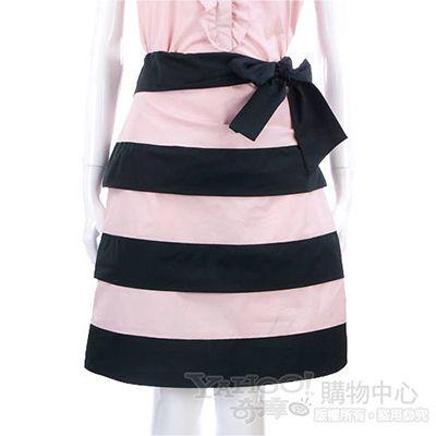 MOSCHINO 黑/粉色條紋蛋糕及膝裙