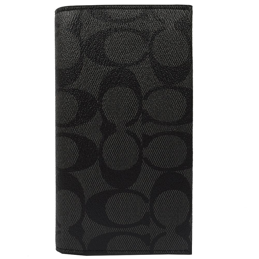 COACH 黑灰LOGO PVC可放手機式多功能中夾COACH