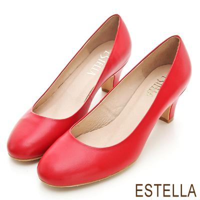 ESTELLA-MIT小牛皮純色經典低跟鞋-紅