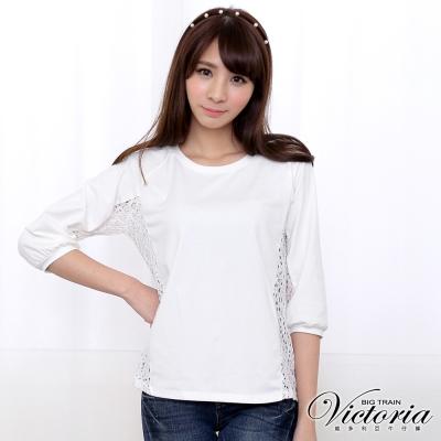 Victoria 側蕾絲剪接七分袖T-女-白色