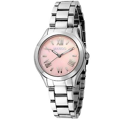 MANGO 經典素雅羅馬時標腕錶-銀色/粉紅色面(珍珠母貝)-34mm