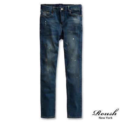 ROUSH-Skinny-潑漆刷痕水洗窄管單寧褲